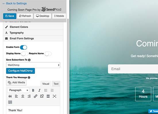 Biểu mẫu đăng ký email