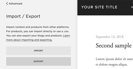 Export Squarespace