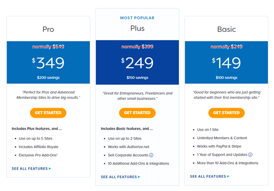 The MemberPress pricing plans