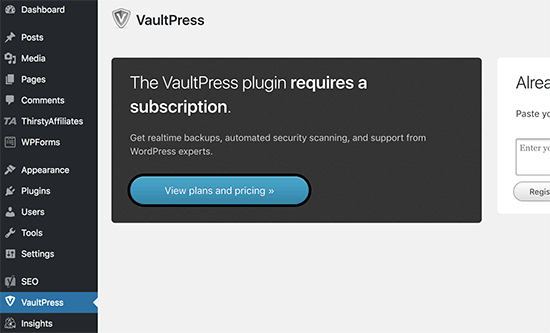 View VaultPress plans and pricing
