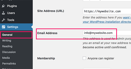 Changing WordPress site admin email