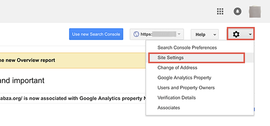 Google Search Console site settings