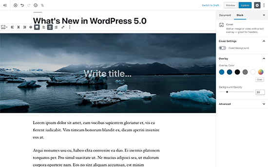 New block-based editor in WordPress 5.0