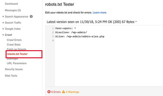 Robots.txt test aracı