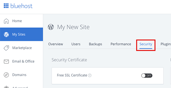 Bluehost free SSL