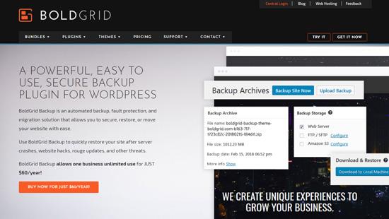 BoldGrid Yedekleme WordPress eklentisi