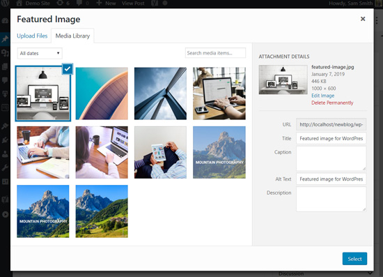 Upload featured image in WordPress