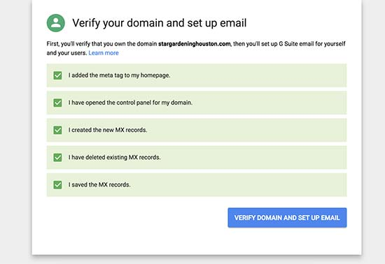 Verify domain setup