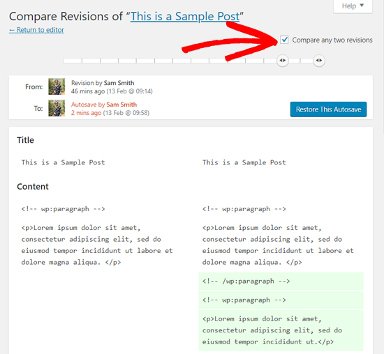 Compare Two revisions WordPress posts