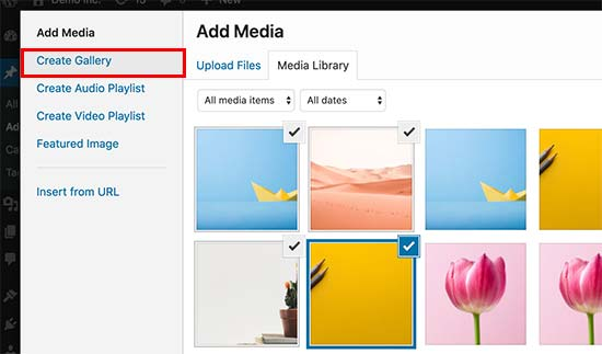 Create gallery in media uploader