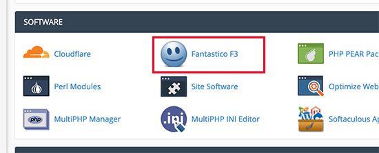 Fantastico icon in cPanel dashboard