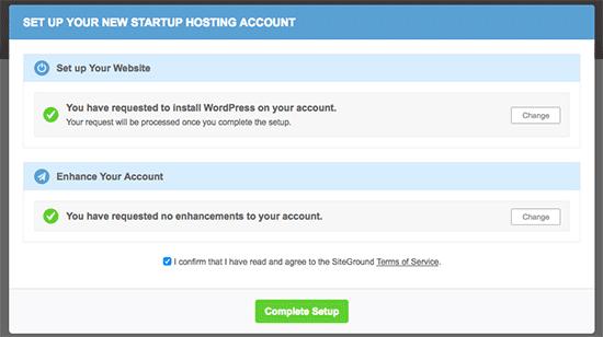 Finalice la instalación de WordPress en la nueva cuenta de SiteGround