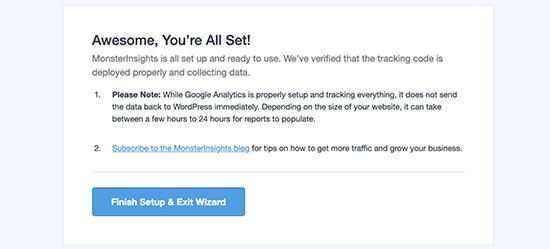 Google Analytics è stato installato correttamente utilizzando MonsterInsights