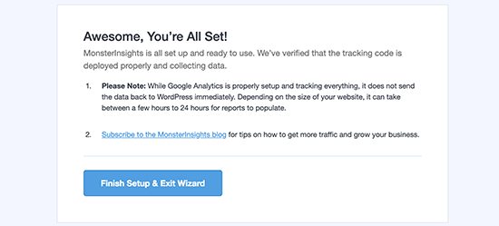 Google Analytics installé avec succès avec MonsterInsights