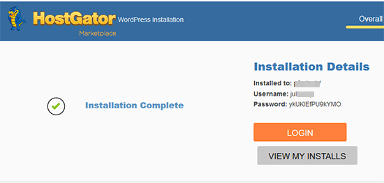 HostGator WordPress installation finished