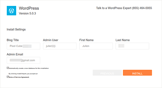 HostGator WordPress install settings