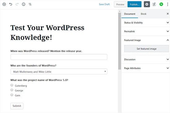 Publish Your Quiz in WordPress