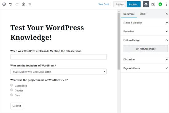 Xuất bản bài kiểm tra của bạn trong WordPress