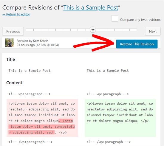 Restore a Revision in WordPress