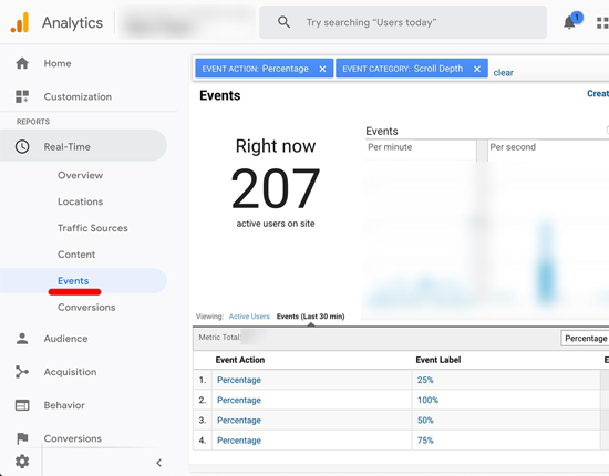 Google Analytics Scroll Tracking in Real-time