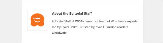 جعبه اطلاعات نویسنده عمومی در مقاله WPBeginner