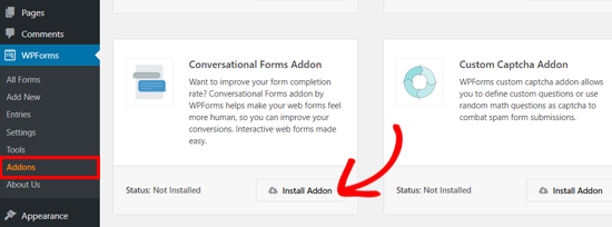 Install Conversational Forms addon by WPForms
