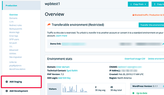 Add staging site in WP Engine