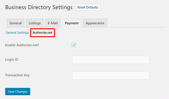 Business Directory Plugin Authorize.net Settings