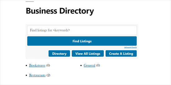 Business Directory Demo with Default WordPress Theme