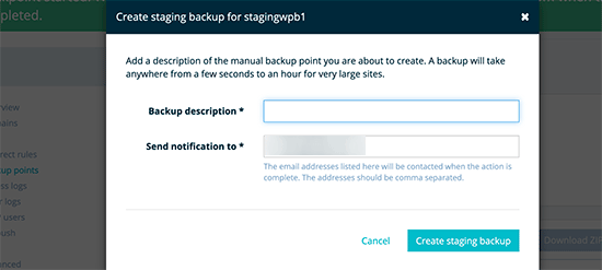 Create backup of your staging site