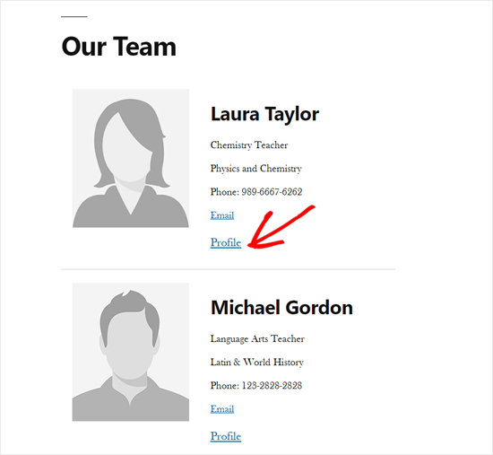 Profile Link on WordPress Staff Directory Page