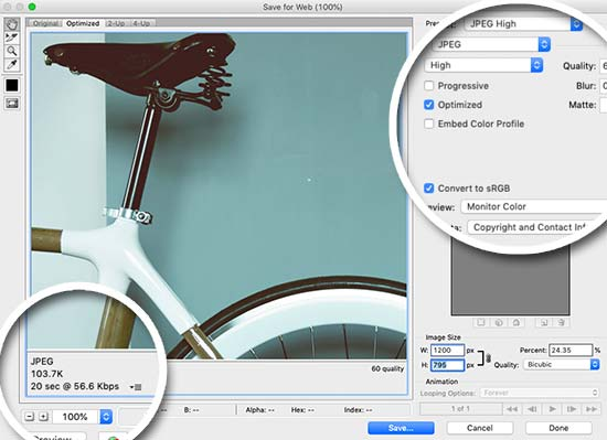 Saving images optimized for the web using Photoshop