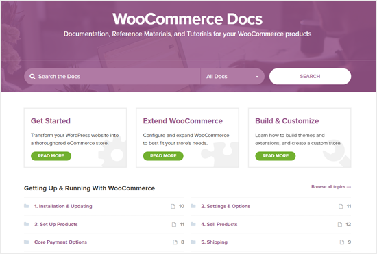 WooCommerce Docs for Support