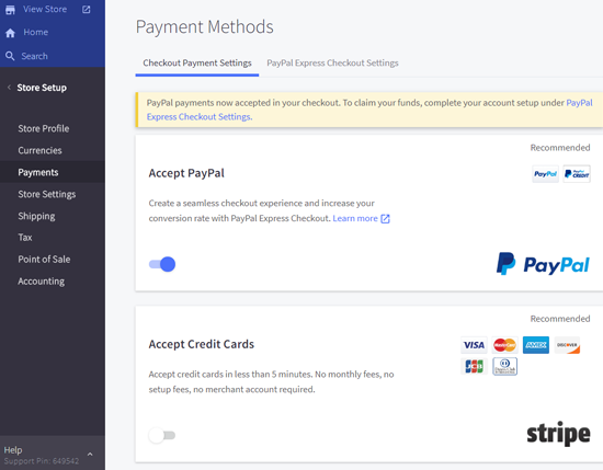 BigCommerce Payment Settings