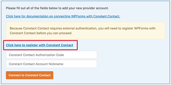 Connect Constant Contact to WPForms