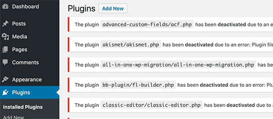 Deactivated WordPress plugins