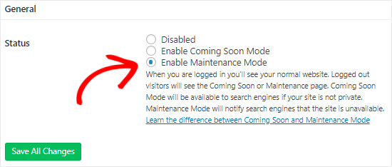 SeedProd enable maintenance mode