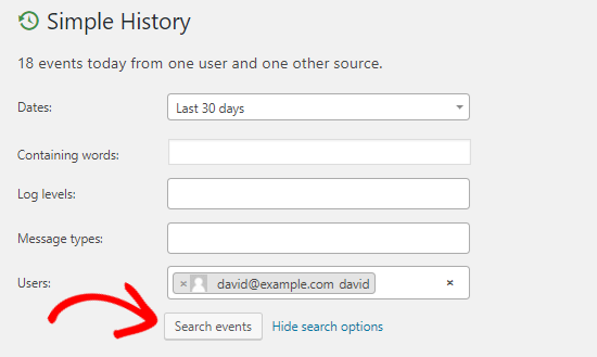 Simple History activity log search options