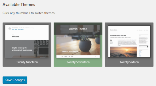 Theme Switcha available themes section