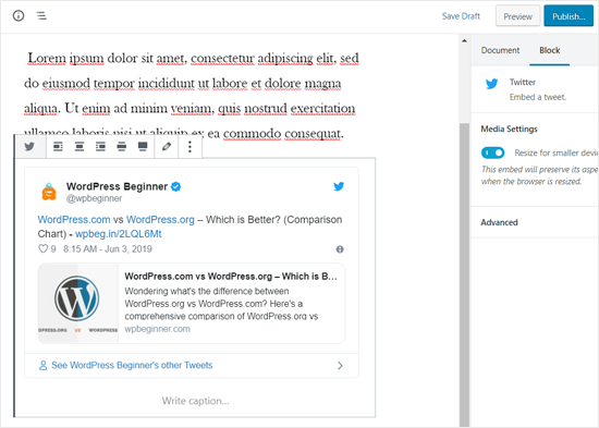 Actual Tweet Embedded in WordPress Post