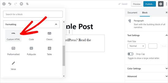 WordPress Post'a Özel HTML Bloğu Ekleme