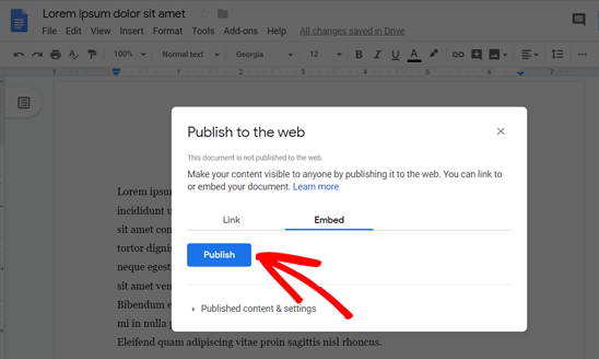 Click Publish to Find the Embed Code for Google Doc