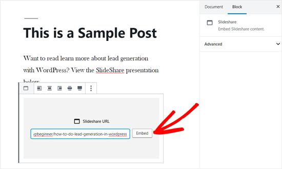 Betten Sie die SlideShare-URL in WordPress Post ein