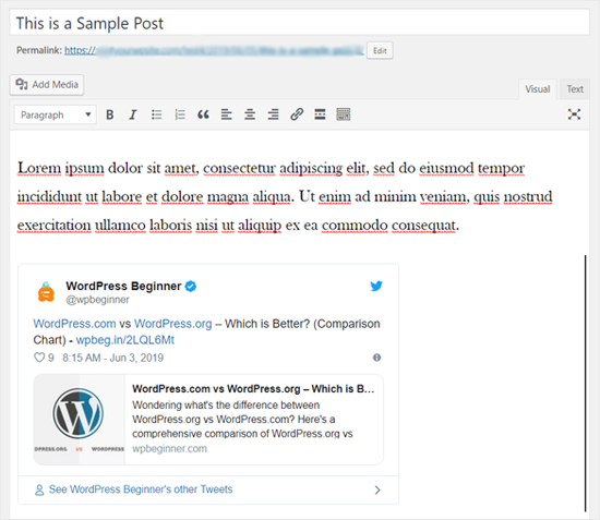 Tweet Embedded in Classic WordPress Editor