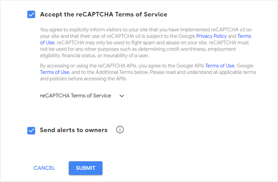 Accept Google reCAPTCHA Terms of Service