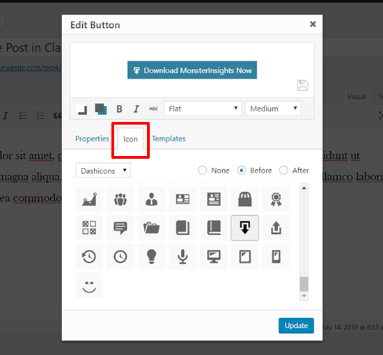 Add Icon to your Button in Classic Editor