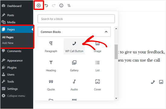 Adding WP Call Button Block in WordPress