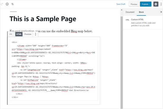 Bing Map Embed Code Added in WordPress Editor
