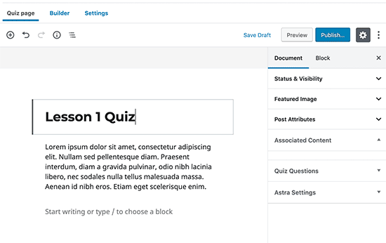 Creating the quiz page