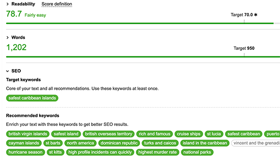 LSI keyword recommendations